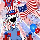 4th of July Cat Card for Kids by Doreen Erhardt