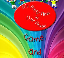 It's Party Time at Our House invitation card by Dennis Melling