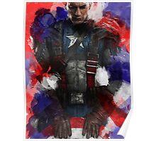 Captain America edit + watercolour effect Poster