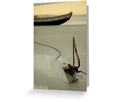 Fish Boat and Anchor on Low Tide  Greeting Card