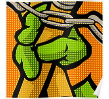 Lichtenstein Pop Martial Art Quelonians | Orange Poster