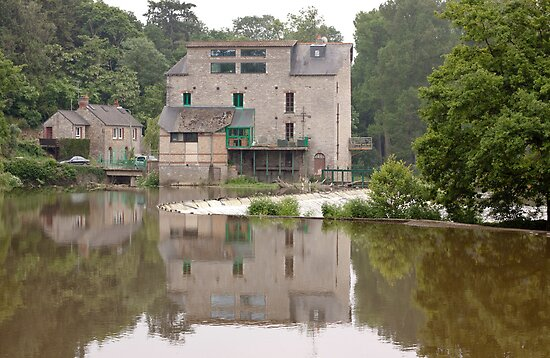 Old Mill on the Ille et Vilaine in Brittany France by Buckwhite
