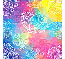 Rainbow triangles with white flowers Photographic Print