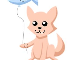 Cat and Balloon (peach) by Myzo