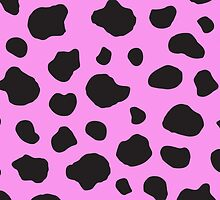 Animal Print Fur Skin Cow Pink, Black by sitnica
