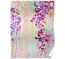 DANCE OF THE SAKURA - Pretty Cherry Blossoms Japanese Floral, Whimsical Abstract Acrylic Painting Poster