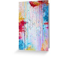 HAPPY TEARS - Bright Cheerful Rainy Day Abstract, Pretty Feminine Whimsical Acrylic Fine Art Painting Greeting Card