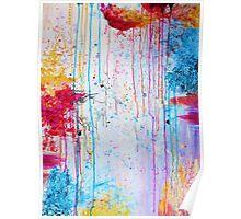 HAPPY TEARS - Bright Cheerful Rainy Day Abstract, Pretty Feminine Whimsical Acrylic Fine Art Painting Poster