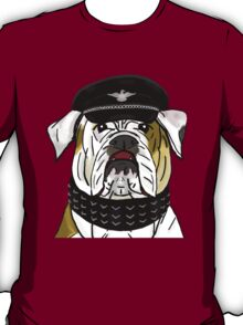 Funny and Tough Bulldog Wearing Leather Hat and Collar T-Shirt