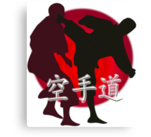 Silhouette of a Karate Fight, Japanese Flag in Background Canvas Print