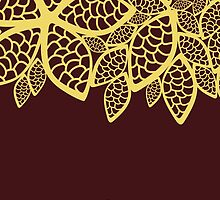 Oriental Fancy Persian Paisley Leaves Red, Yellow by sitnica