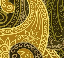 Oriental Persian Paisley, Flowers - Green Yellow  by sitnica
