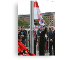 Unfurling the flag at City Hall Canvas Print