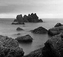 Black & White Sea and Rocks by mrjimmyd