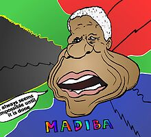 Comic portrait of Nelson Mandela by Binary-Options