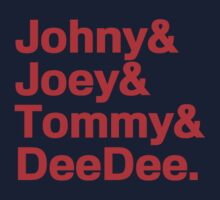 Ramones Names Joey, Johny, Tommy & Deedee T-Shirt by Flyinglap