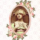 vintage retro woman floral roses pink girly by hellohappy
