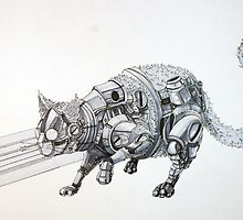 Clockwork Cat illustration by Ethan Yazel by EthanBurnsides