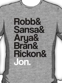 Game of Thrones: Stark Children Names T-Shirt