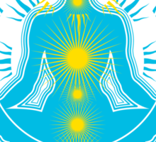 Yoga pose Sky Blue-Yellow Sticker