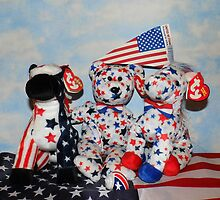 Teddy And His Patriotic Friends by WildestArt