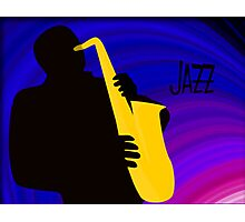 Silhouette of a Jazz Saxophone Player, Purple Blue Background Photographic Print
