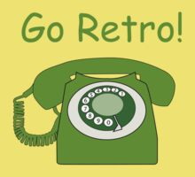 Retro Style Green Dial Phone, with the Words 'Go Retro!' by ibadishi