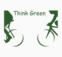 "Illustration of 2 Cyclists in Green and the Words : ""Think Green"" by ibadishi"