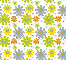 Blooming Flowers and Petals - Red Green Blue Yellow  by sitnica