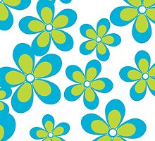 Blooming Flowers and Petals - Green Blue White  by sitnica