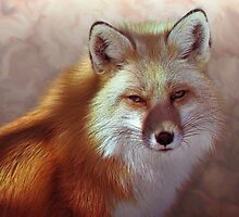 Fox Portrait Painting Max size 14x14 by galet09