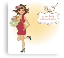 new baby announcement card with pregnant woman Canvas Print