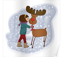 Christmas card with cute little girl caress a reindeer. Vector illustration Poster