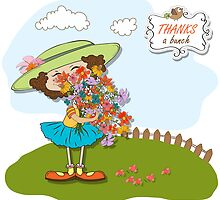 funny girl with a bunch of flowers by Balasoiu Claudia