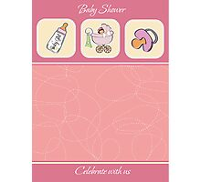 cute baby girl shower card Photographic Print