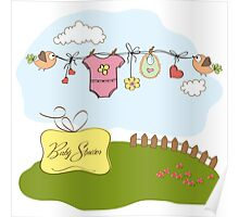 baby girl shower card Poster