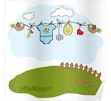 baby boy shower card Poster