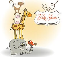 baby shower card with funny pyramid of animals by Balasoiu Claudia