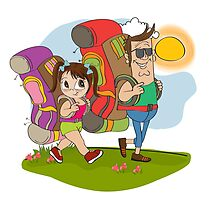 father and daughter tourist traveling with backpacks by Balasoiu Claudia