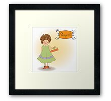 curly young girl she hide a gift Framed Print