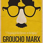 "Groucho Marx— ""I'm going to live forever, or die drying."" Equal & Opposite funny glasses poster series. Part 1 of 2.  by Equal-Opposite"