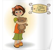 young girl going to sleep with her favorite toy, a teddy bear Poster
