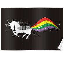 Grunge rocket rainbow unicorn space dust Poster