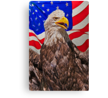 Eagle with Waving Flag Canvas Print