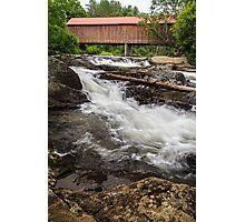 Vermont Covered Bridge and Waterfall  Photographic Print