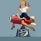 Moon Rocket Ride - Pin Up Girl by Fiona Stephenson by Fiona Stephenson
