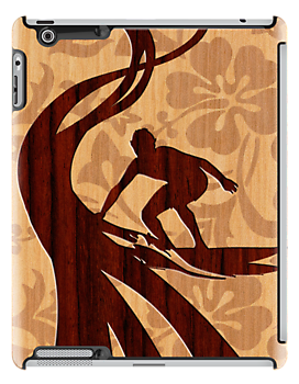 Faux Koa Wood Hawaiian Surfer  by DriveIndustries