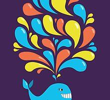 Colorful Swirls and Happy Cartoon Whale by Boriana Giormova