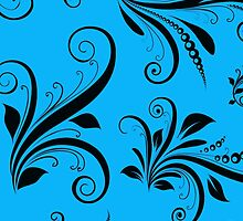 Baroque Ornamental Antique Damask Blue, Black by sitnica