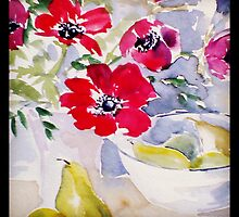 pears and anemones in watercolour by Rebecca Yoxall